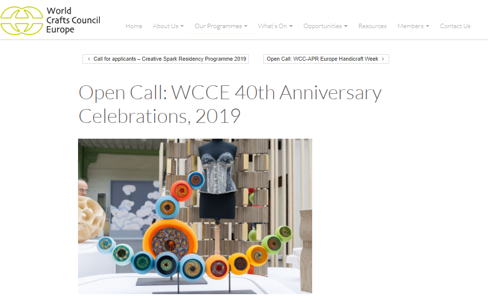 Open Call: WCCE 40th Anniversary Celebrations, 2019